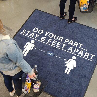 "Social Distancing Floor Mat that reads ""Do Your Part... Stay 6 Feet Apart"""